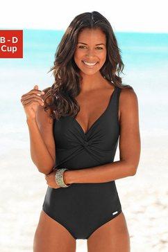 lascana badpak met knoop-look bij de cup en modellerend effect zwart