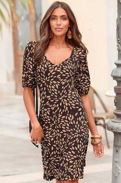 lascana gedessineerde jurk met een cut-out op de rug bruin
