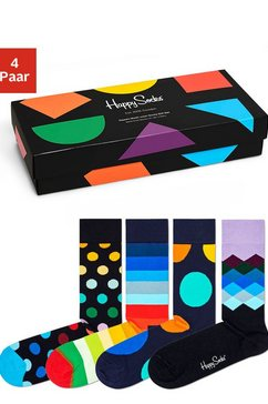 happy socks sokken in aantrekkelijke cadeauverpakking (4 paar) multicolor