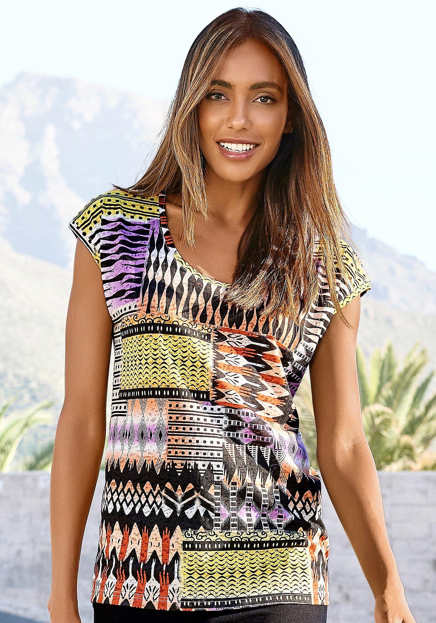 Buffalo T-shirt Etskantkwaliteit met een modieuze print nu online kopen bij Lascana