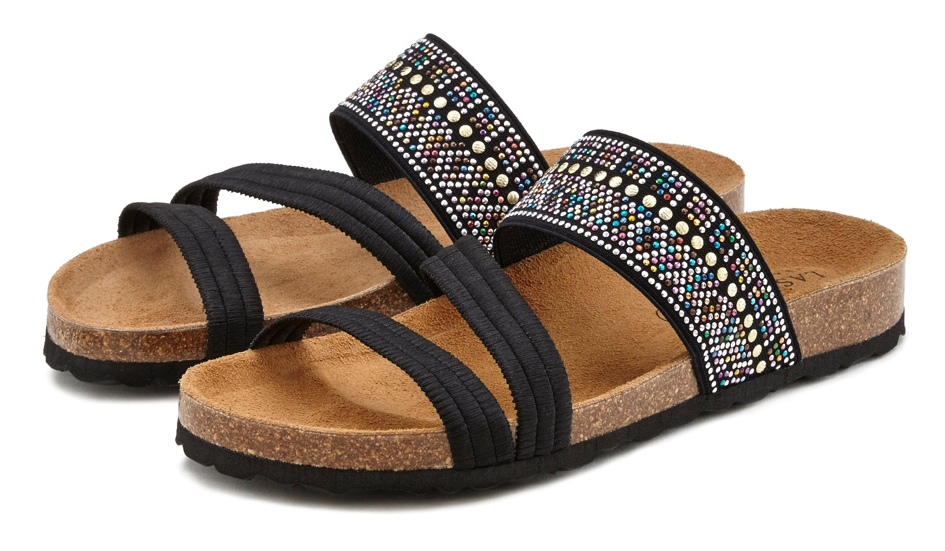 Lascana slippers met kurkvoetbed en elastische riemen bij Lascana online kopen