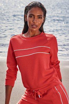 h.i.s sweatshirt met piping op borsthoogte rood