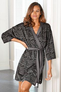 s.oliver red label beachwear kimono soepelvallende katoenmix zwart