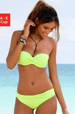 s.oliver red label beachwear bandeau-bikinitop spain unikleur in wikkel-look groen