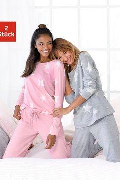 arizona pyjama in een gemêleerde look met sterretjes (set van 2) grijs
