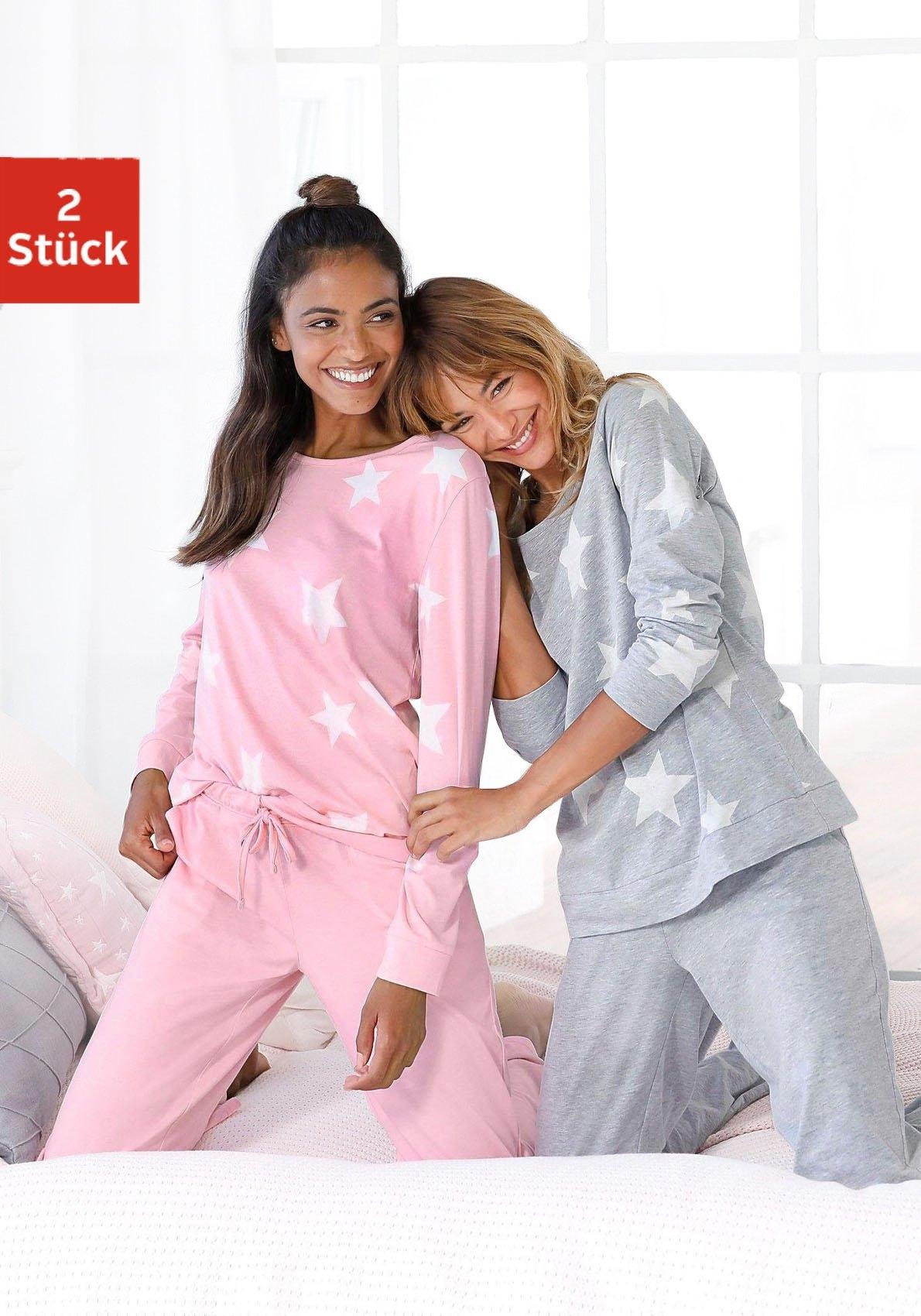 Arizona Pyjama in een gemêleerde look met sterretjes (Set van 2) bij Lascana online kopen