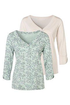 lascana shirt met 3-4-mouwen (set van 2) groen