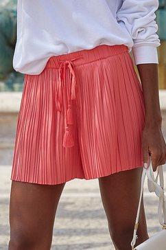 lascana short van plissé rood