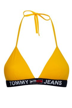 tommy hilfiger triangel-bikinitop in sportief design geel
