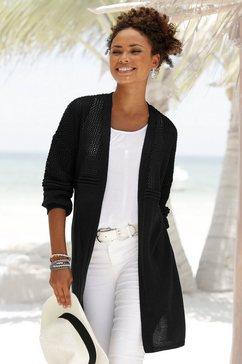 lascana lang vest met ajourmotief zwart