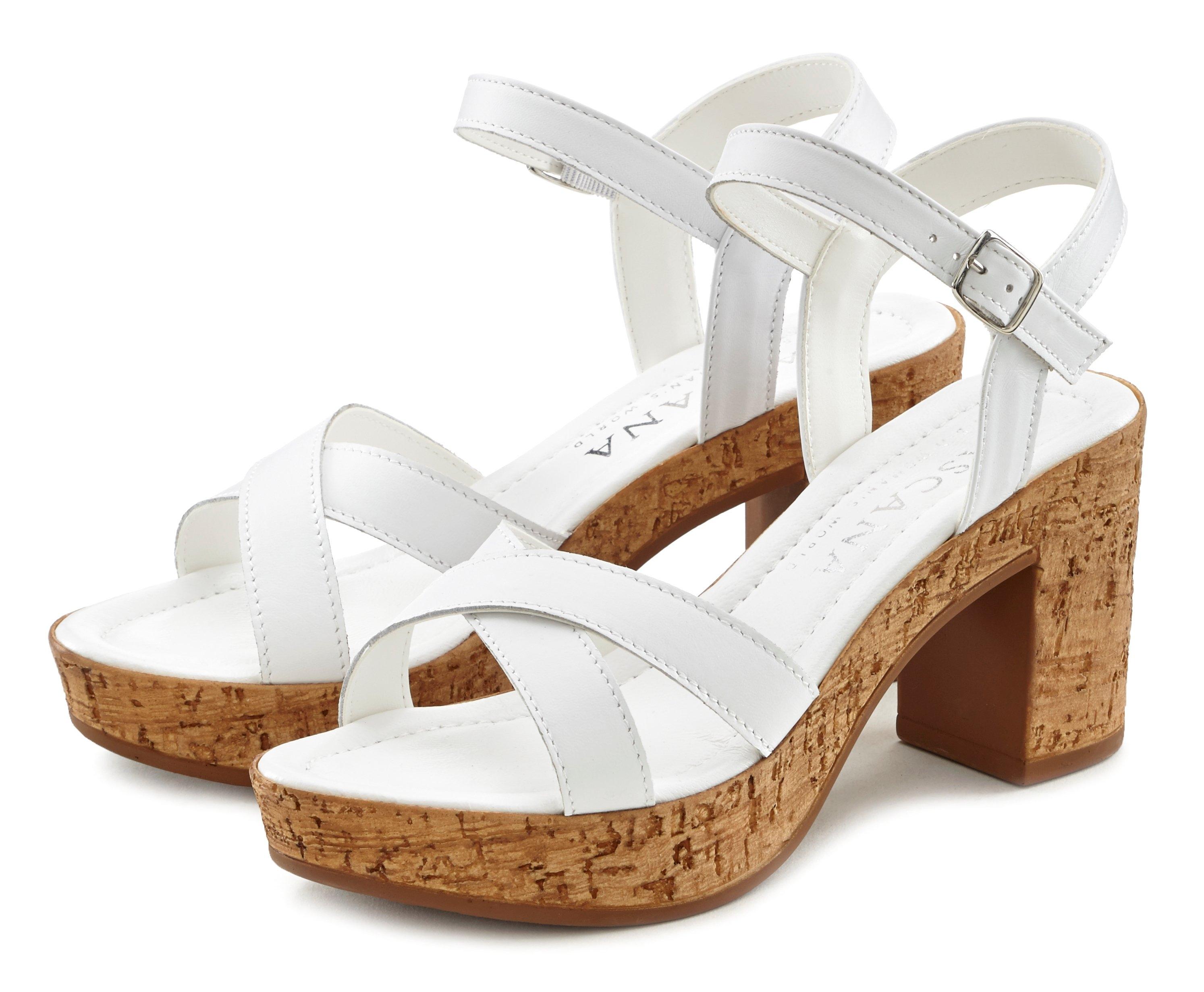 Lascana sandaaltjes van leer met blokhak voordelig en veilig online kopen