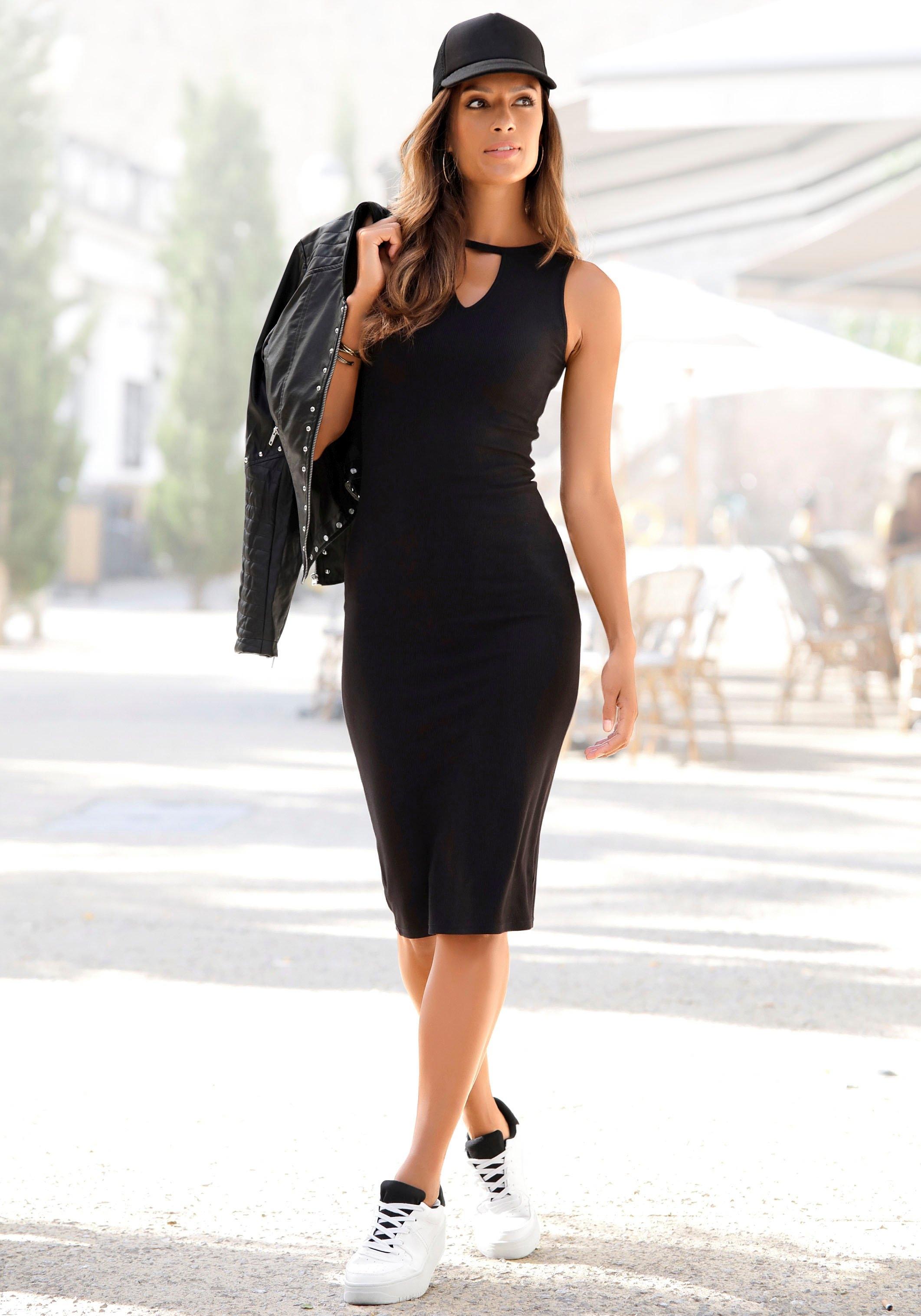 Op zoek naar een Buffalo Midi-jurk van zacht ribmateriaal? Koop online bij Lascana