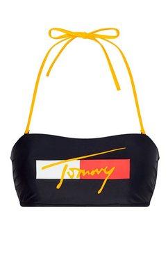tommy hilfiger bandeau-bikinitop met tommy-opschrift blauw