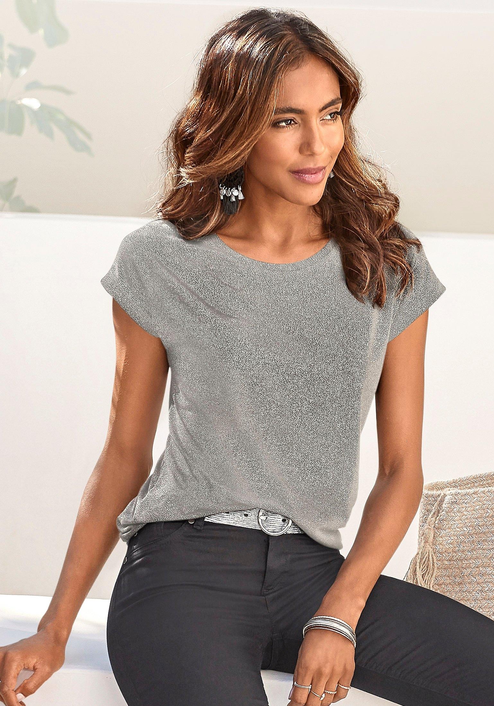 Op zoek naar een Vivance T-shirt met zilverkleurige glitterprint? Koop online bij Lascana