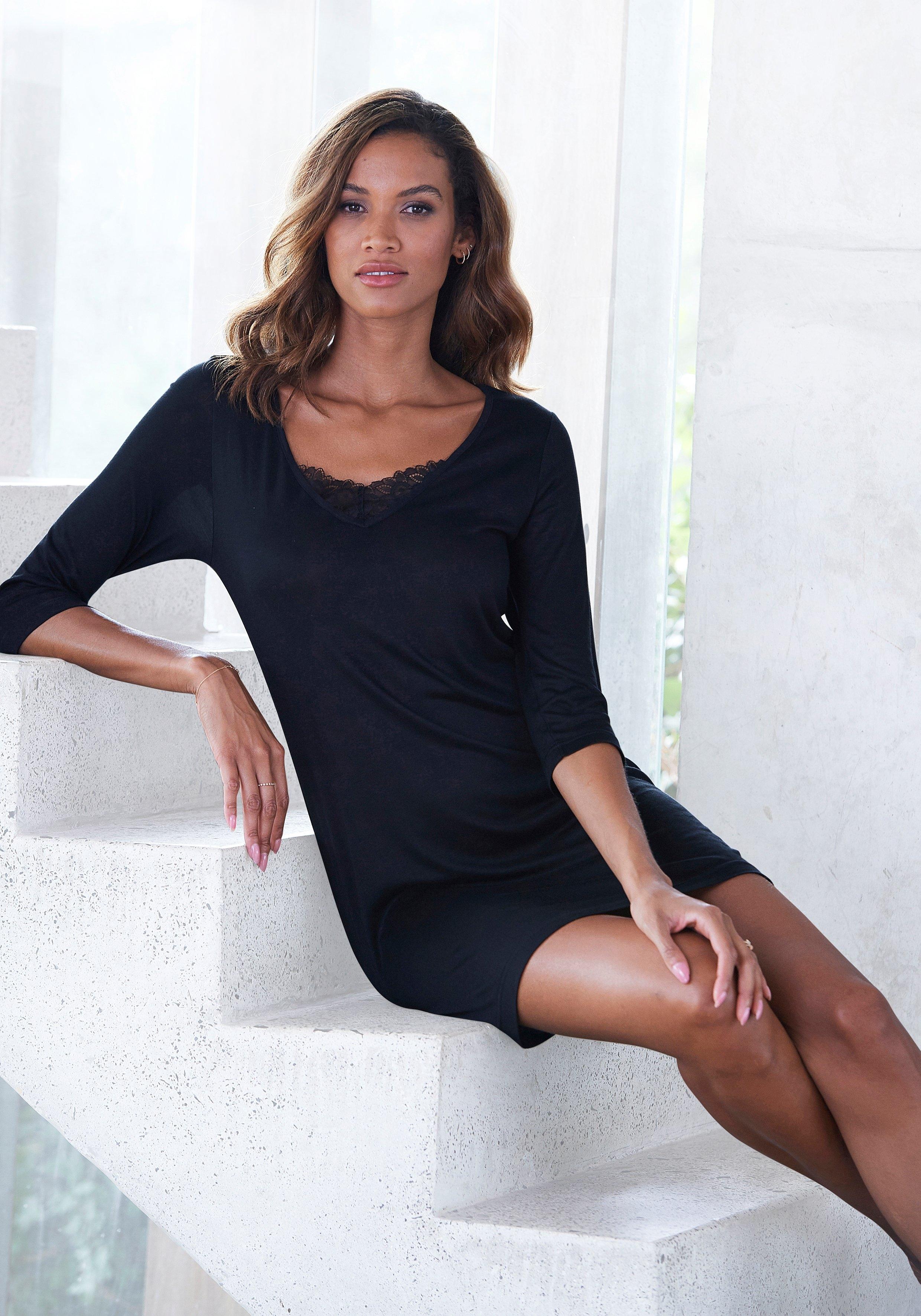 Lascana nachthemd met kanten detail en korte mouwen nu online kopen bij Lascana