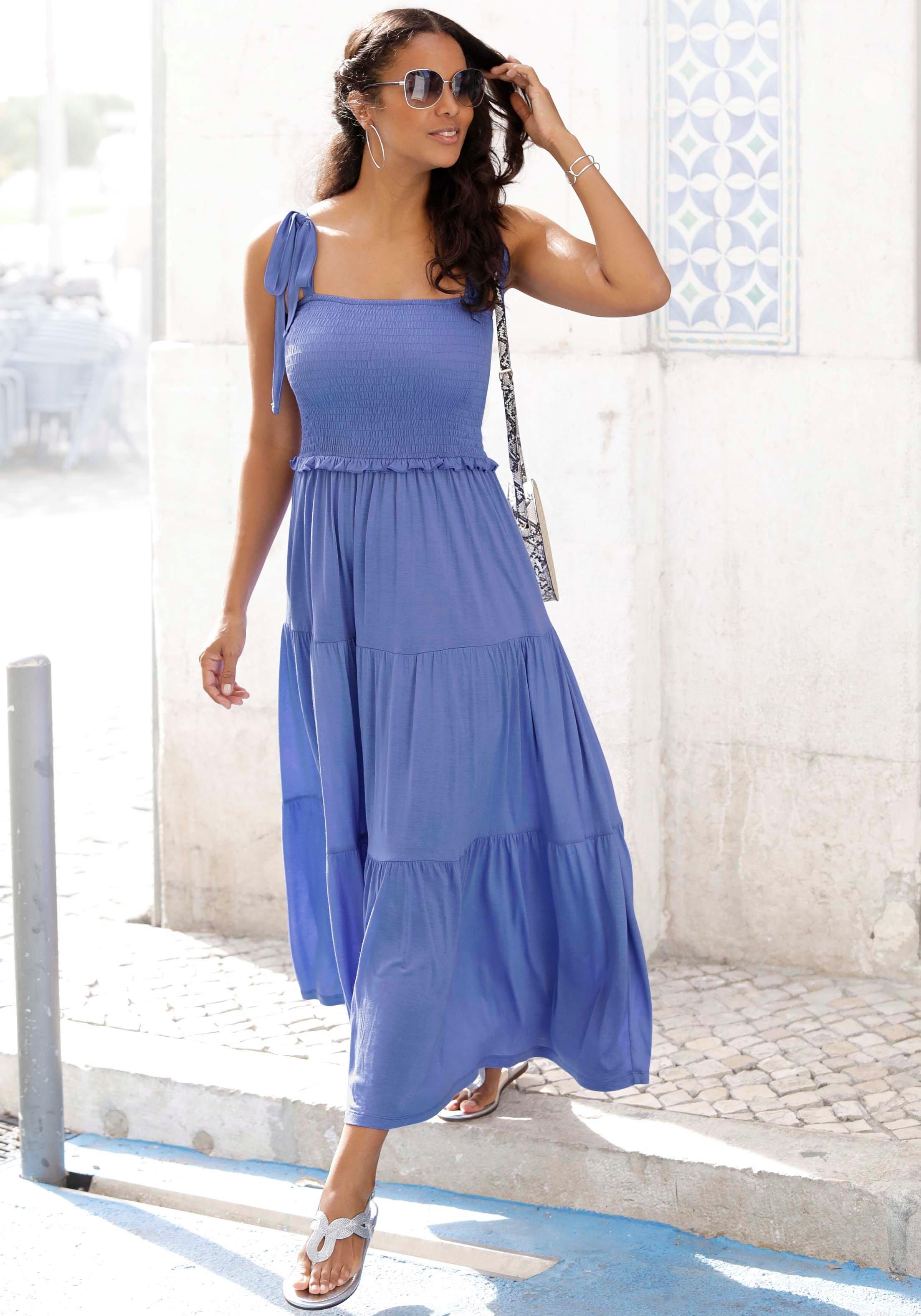 Lascana Maxi-jurk met breed gesmokt deel nu online kopen bij Lascana