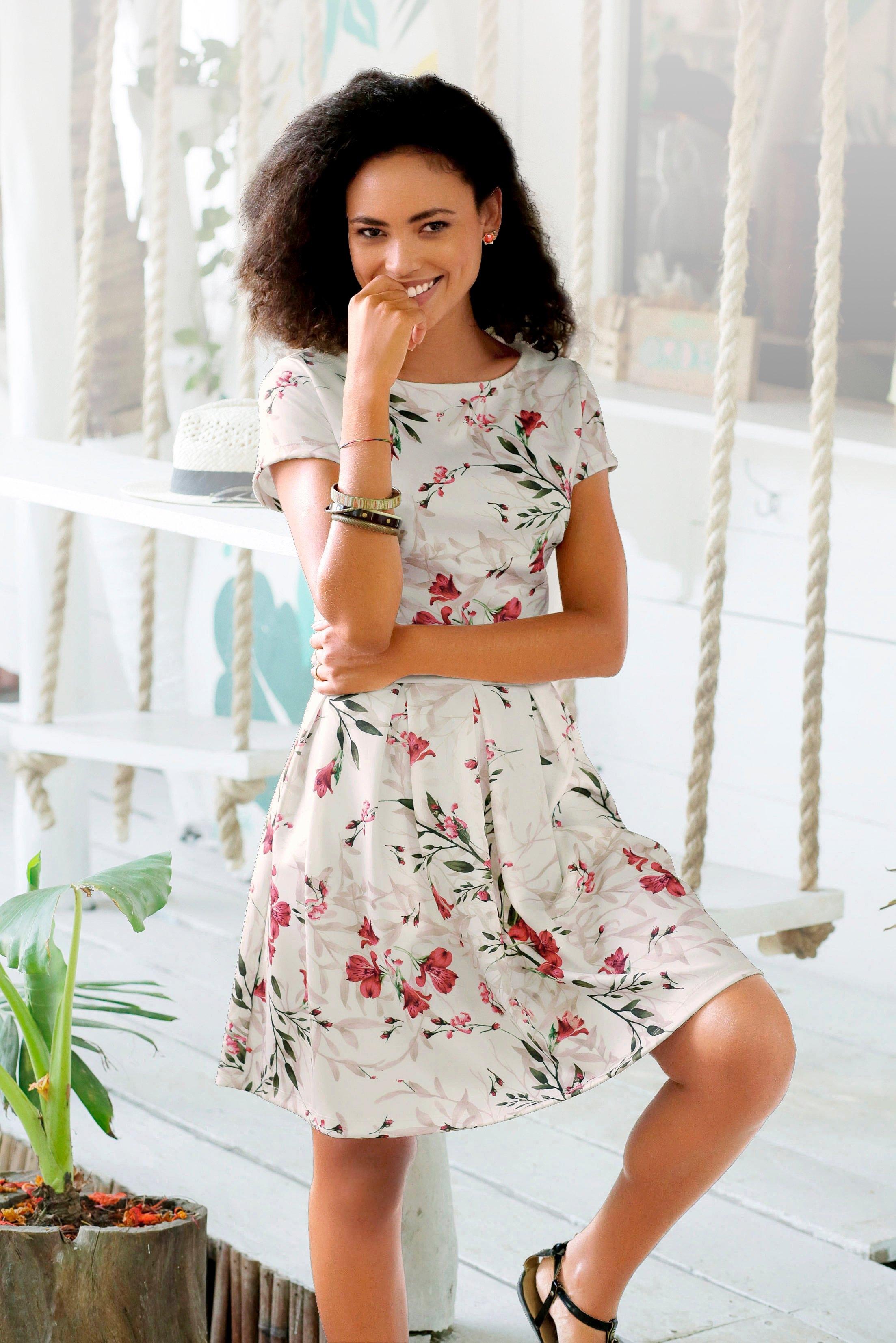 Lascana scuba-jurk met bloemmotief - gratis ruilen op lascana.nl