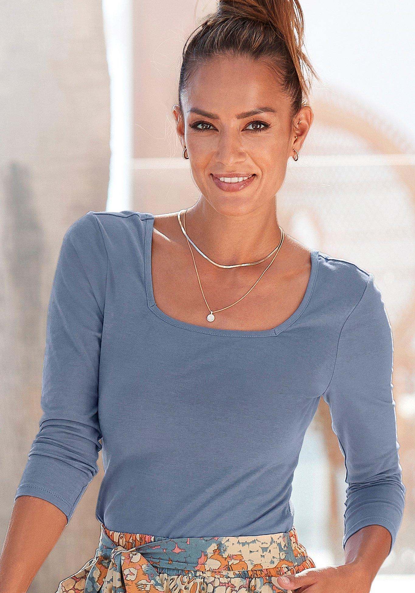 Buffalo shirt met lange mouwen met modieuze carréhals voordelig en veilig online kopen