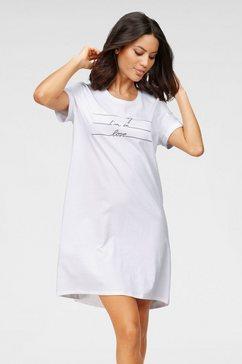 schiesser nachthemd met frontprint wit