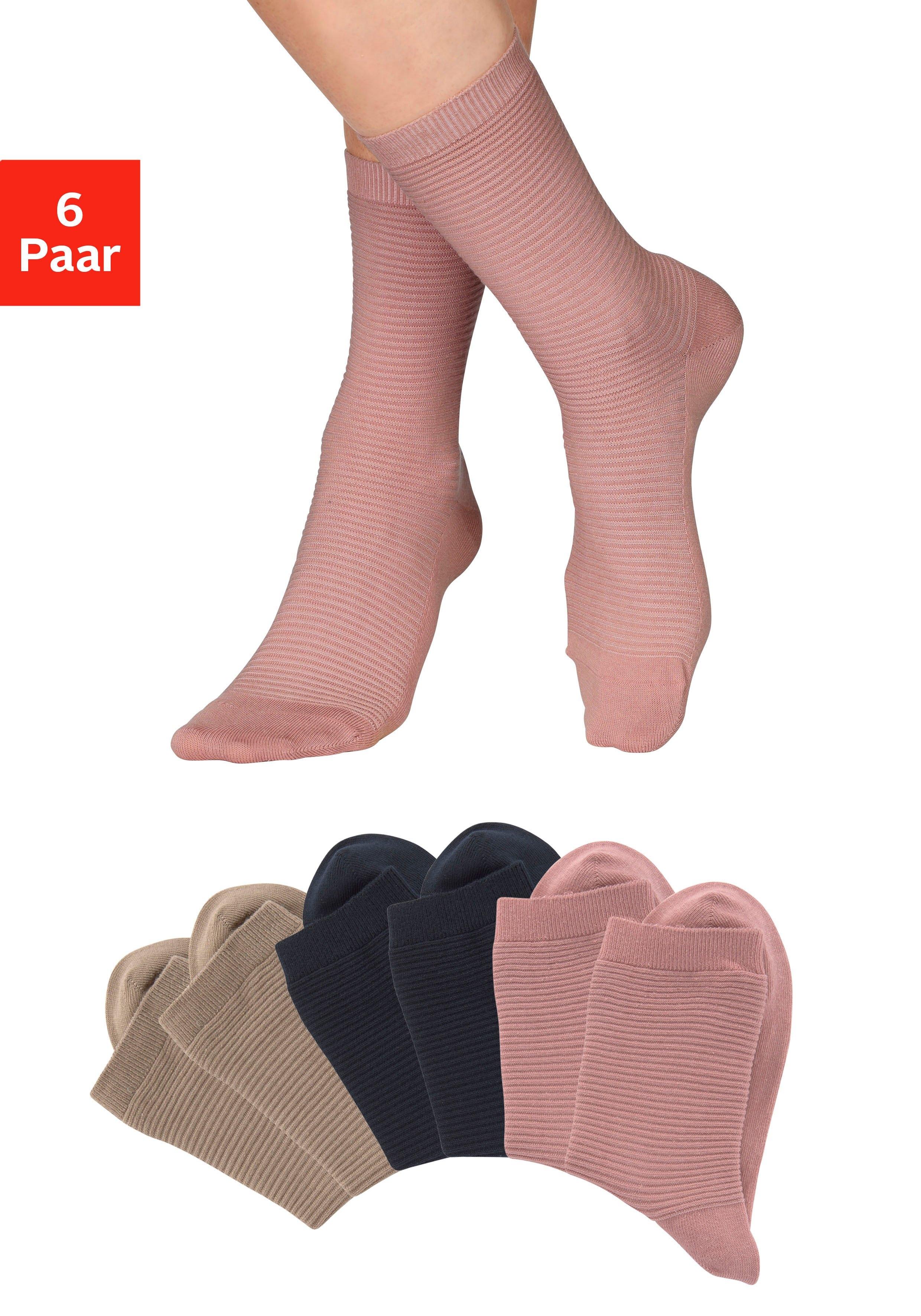 Bench. Basic sokken met ribstructuur (6 paar) nu online kopen bij Lascana
