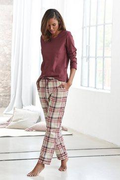 h.i.s pyjama met geruite pyjamabroek geel