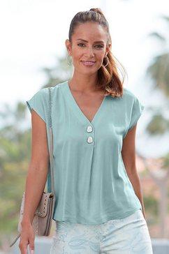 lascana blouse zonder sluiting met modieuze knopen groen