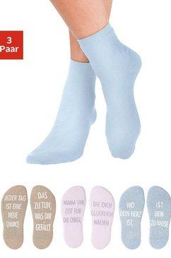 arizona wellness-sokken met antislip in de vorm van een spreuk (3 paar) multicolor