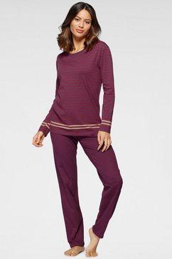 schiesser pyjama met streepprint paars
