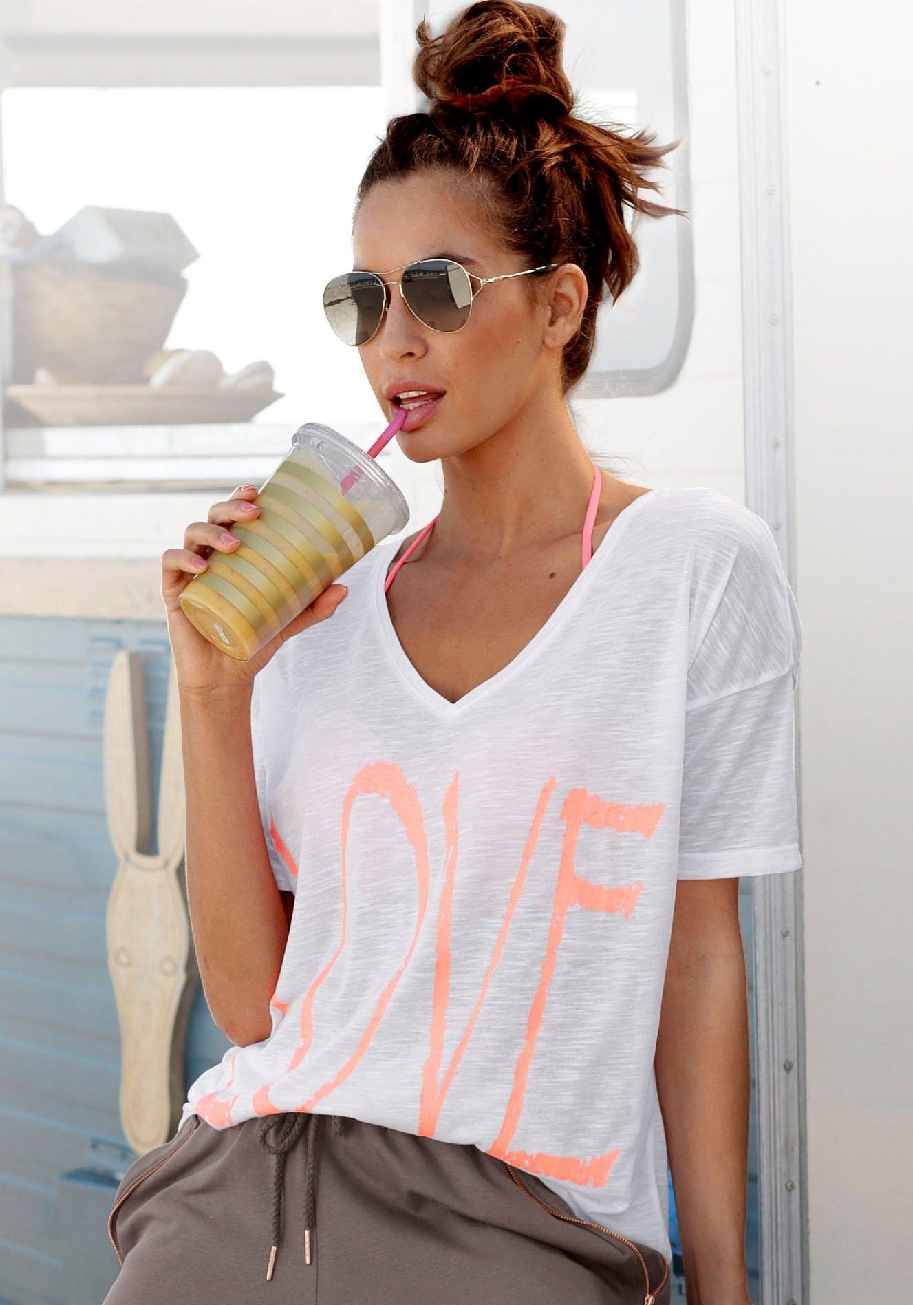 Bench. shirt met V-hals met neonprint nu online bestellen