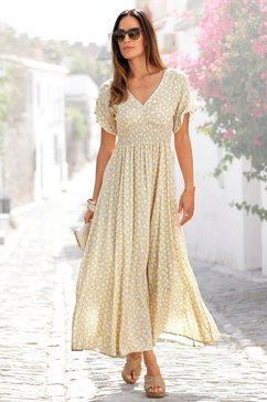 lascana maxi-jurk met bloemenprint beige