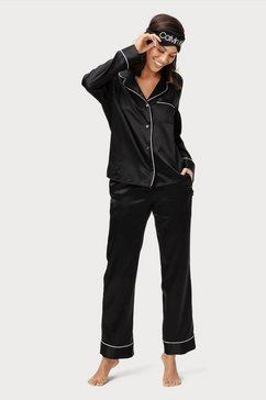 calvin klein pyjama van satijn en met gedessineerd slaapmasker (3-delig) zwart
