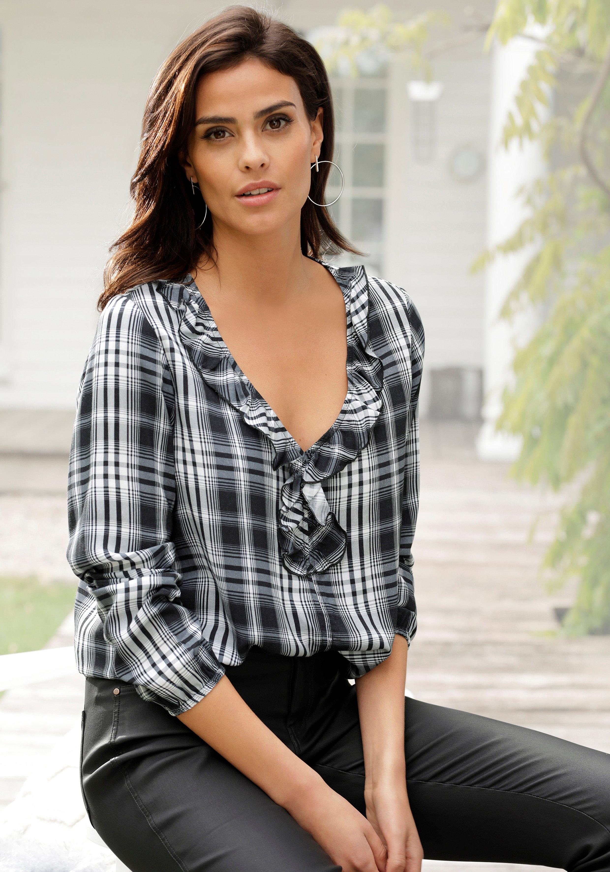 Lascana geruite blouse met ruchedetails voordelig en veilig online kopen