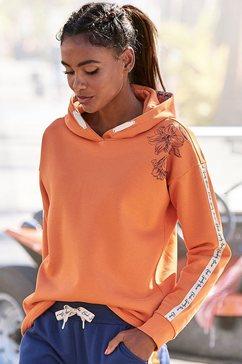 bench. hoodie met bloemenprint en logotapes oranje