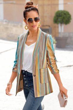 lascana lange blazer met diepe reverskraag multicolor