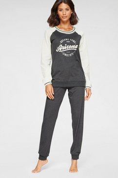 arizona pyjama in college-look met folieprint grijs