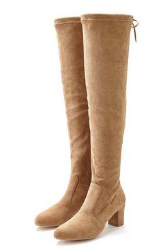 lascana overknee-laarzen stretchlaarzen beige