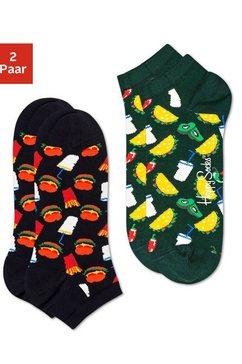 happy socks sneakersokken »hamburger low« zwart