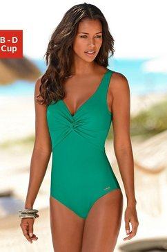 lascana badpak met knoop-look bij de cup en modellerend effect groen